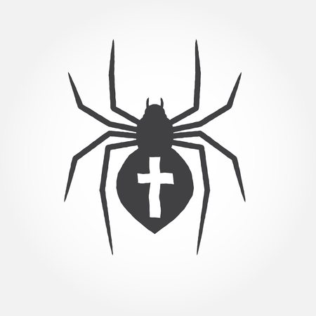 Spider outline icon. Vector illustration isolated on white background. For web design, banner, flyer, mobile and application interface, also useful for infographics. Spider silhouette.- stock vector.