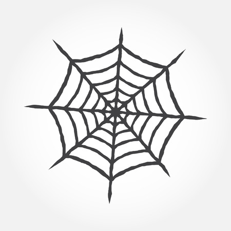 abandon: Halloween cobweb outline icon. Spiderweb isolated on white background. For web design, banner, flyer, mobile and application interface, also useful for infographics. Cobweb silhouette.- stock vector.