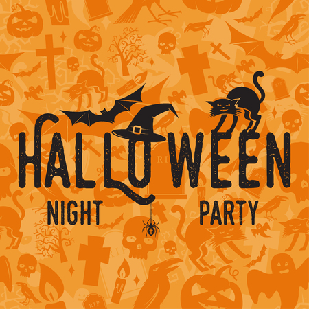 Halloween night party concept. Vector Halloween retro badge. Concept for shirt, print, seal or stamp. Spider, bat, hat and cat. Typography design- stock vector.
