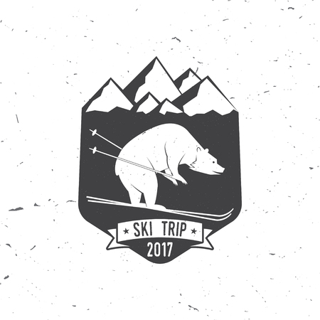 Ski club concept with bear. Vector ski club retro badge. Concept for shirt, print, seal or stamp. Ski club - wild bear. Typography design- stock vector. Family vacation, activity or travel. For design, patches or badges. Illustration