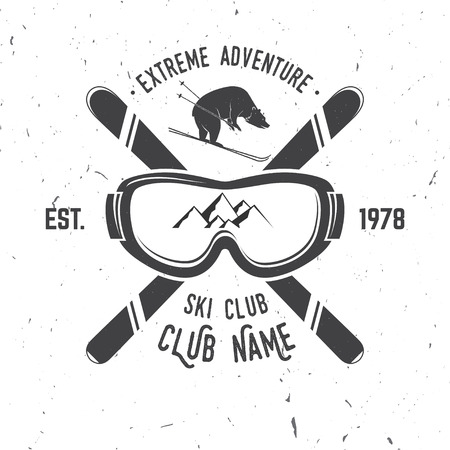 Ski club concept. Vector ski club retro badge. Concept for shirt, print, seal or stamp. Skis, mountain, bear and goggles. Typography design- stock vector. Family vacation, activity or travel. For design, patches or badges. Фото со стока - 66062783