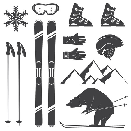 Set of skiing equipment silhouette icons. Set include skis, mountain, bear, gloves, goggles, helmet and snowflake. Winter equipment icons for family vacation, activity or travel. For design, patches, seal, badges.