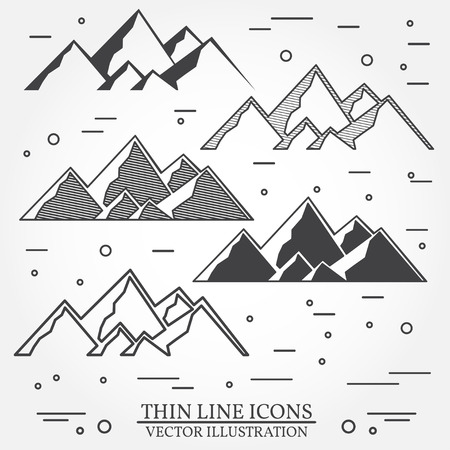 rocky road: Set of mountains icons. Set include silhouettes and thin line icons . Winter icons for family vacation, activity or travel. For design, patches, seal,  badges. Mountains thin line icon. Illustration