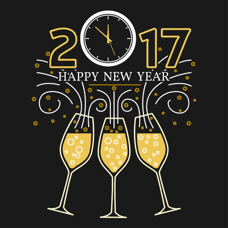 Happy new year greeting card. vector. Champagne glasses and clock thin line.