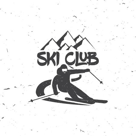 スキーヤーでクラブのコンセプトをスキー高山のダウンヒル スキー人。ベクトル スキー クラブのレトロなバッジ。シャツ、プリント、シールまた