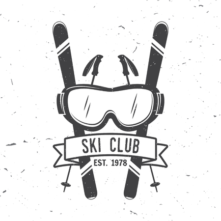 Ski club concept. Vector ski club retro badge. Concept for shirt, print, seal or stamp. Skis, mountain, ribbon and goggles. Typography design- stock vector. Family vacation, activity or travel. For design, patches or badges.