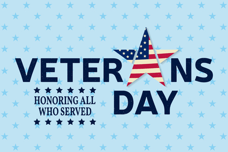 honoring: Veterans day greeting card. Honoring all who served. Vector illustration. Illustration