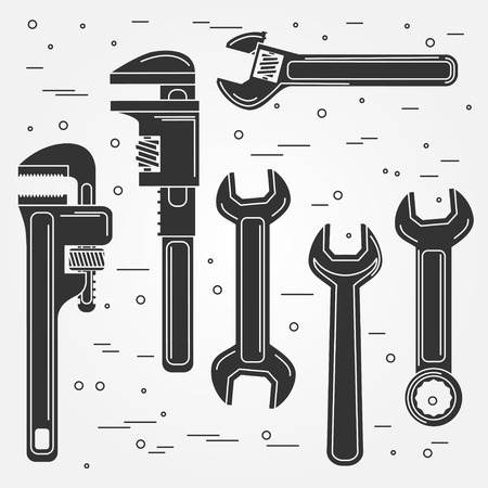 include: Set of flat wrench icon. Vector illustration. Silhouettes of tools. Set include Adjustable, Pipe and Gear Wrenches. Illustration