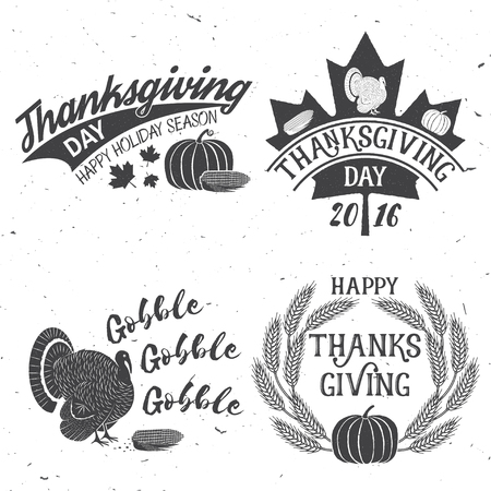 Happy Thanksgiving Be Thankful Vector Thanksgiving Retro Badge