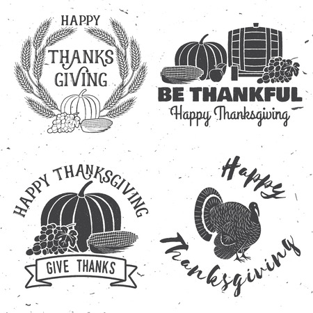 indian happy family: Happy Thanksgiving. Be thankful. Vector Thanksgiving retro badge. Concept for shirt, print, stamp, patch. Pumpkin, corn, apple, barrel and grapes.