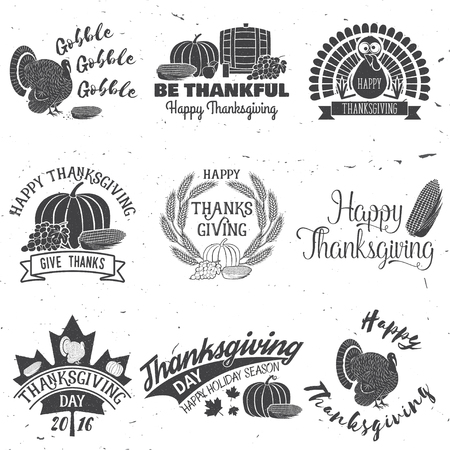 Happy Thanksgiving. Be thankful. Vector Thanksgiving retro badge. Concept for shirt, print, stamp, patch. Pumpkin, corn apple barrel and grapes Illustration