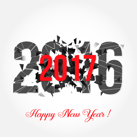 dust cloud: Vector illustration of text 2017 and explosion isolated on white. Happy New Year.