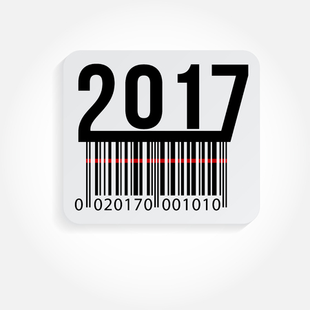 ean: Vector illustration of text 2017 and barcode stickers isolated on white. Happy new Year. Illustration