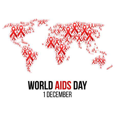 Vector illustration of hiv,aids awareness background isolated on white. World Aids Day concept. 1 December. Red ribbons on the map of world emblem. Illustration