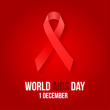 deficiency: Vector illustration of hiv,aids awareness background isolated on white.World Aids Day concept. 1 December. Red ribbon emblem. Illustration