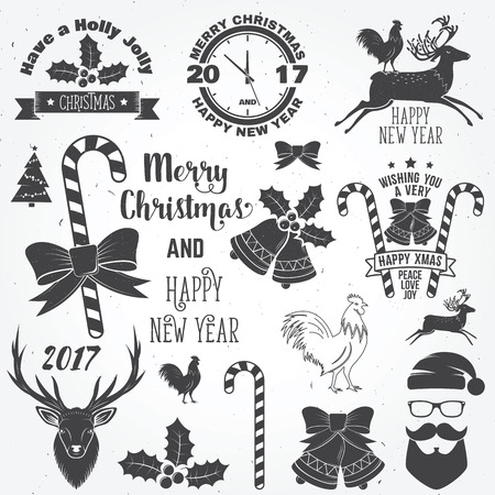 Set of Merry Christmas and Happy New Year 2017 typography design. Vector illustration.