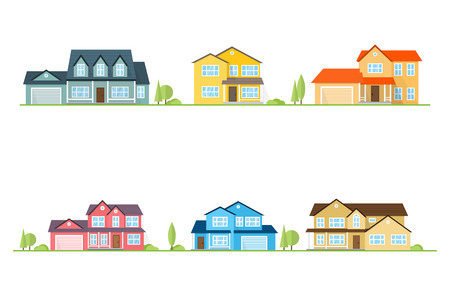 Neighborhood with homes illustrated on white. Vector flat icon suburban american houses. For web design and application interface, also useful for infographics. Vector illustration. Ilustração