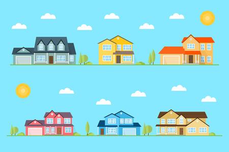 Quartiere con case illustrati su sfondo blu. Vector piatto icona di periferia case americane giorno, la notte. Per il web design e l'interfaccia dell'applicazione, utile anche per infografica. Illustrazione vettoriale.