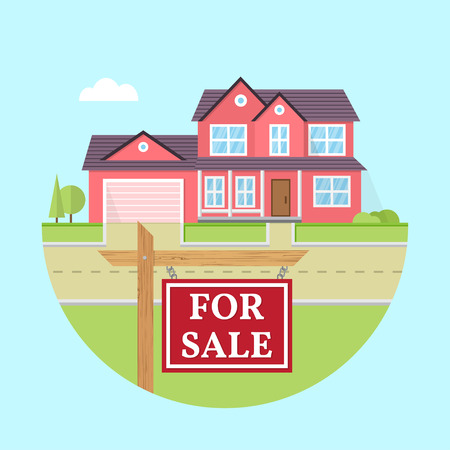 suburban: House for sale. Vector flat icon suburban american house. For web design and application interface, also useful for infographics. Family house icon isolated on white background. Real estate. Illustration
