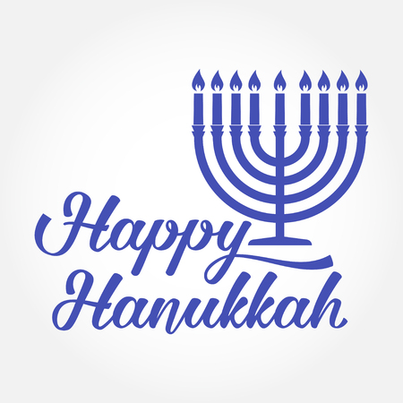Happy Hanukkah greeting card. Typography design. Candlestick with nine candles. Vector illustration. Card with lettering text and Hanukkah menorah. Concept for shirt or logo, print, stamp, patch. Illustration