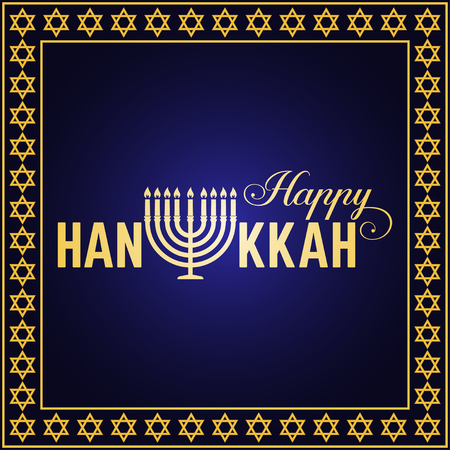 hanukah: Happy Hanukkah greeting card. Typography design. Candlestick with nine candles. Vector illustration. Card with lettering text and Hanukkah menorah. Concept for shirt or logo, print, stamp, patch. Illustration