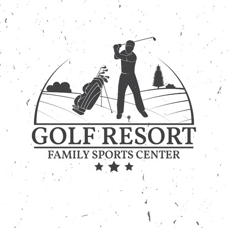 Golf club concept with golfer silhouette. Vector golfing club retro badge. Concept for shirt, print, seal or stamp. Typography design. Иллюстрация