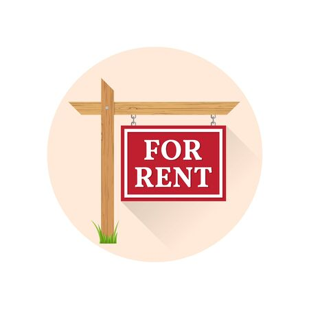 rent: For rent Icon on the white background. For web and mobile, modern minimalist flat design. Vector illustration.