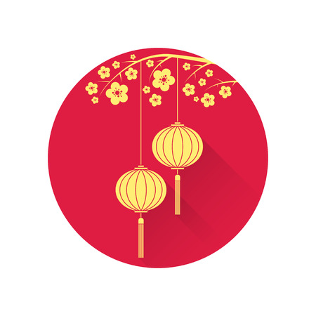 chinese knot: Chinese lantern and cherry blossom flat icon. Vector illustration. Chinese new year design elements. Illustration