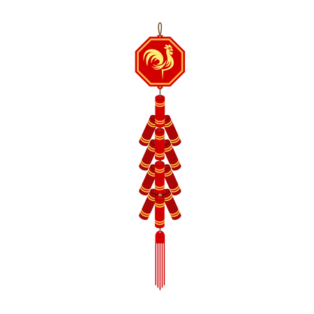 Red chinese firecracker flat icon. Vector illustration.  イラスト・ベクター素材
