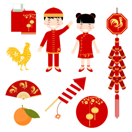Set of Chinese flat icons. Set include girl, boy, lantern, rooster and other elements. Vector illustration.  イラスト・ベクター素材