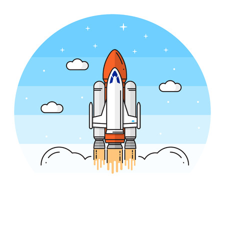 colonization: Space shuttle takes off on the white background. Illustration