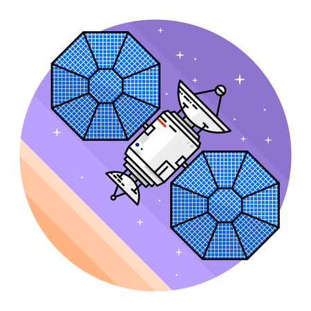 Satellite in space on the white background.