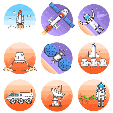 colonization: Space thin line icon. Vector illustration. Stock Photo
