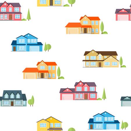 suburban neighborhood: Suburban american houses seamless pattern.