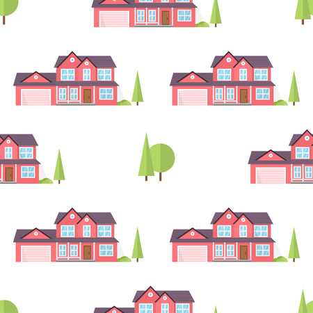 suburban home: Suburban american houses seamless pattern.
