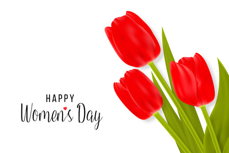 Happy Women s Day Greeting Card with tulips. Vectores