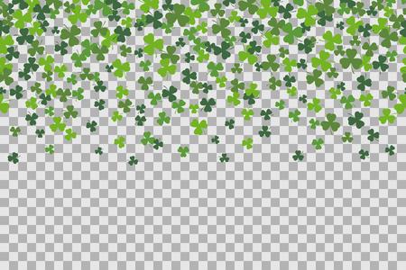 Naadloze patroon met klaver bladeren voor St Patricks Day viering op transparante achtergrond.