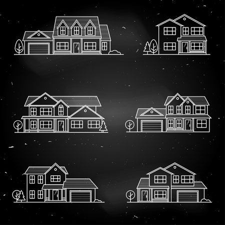 provincial: Set of vector thin line icon suburban american houses. Illustration