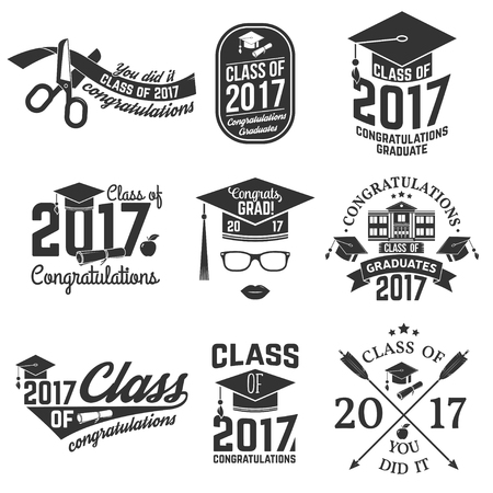 Vector Class of 2017 badge. Иллюстрация