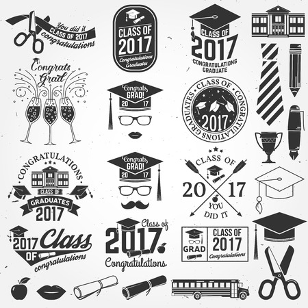Vector Class of 2017 badge.  イラスト・ベクター素材