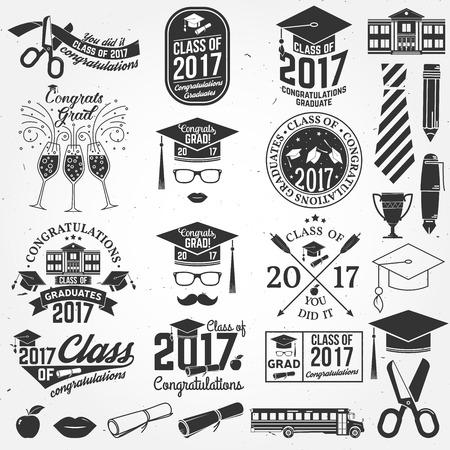 Vector Class of 2017 badge. Illustration