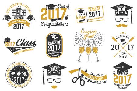 Vector Class of 2017 badge. Ilustração