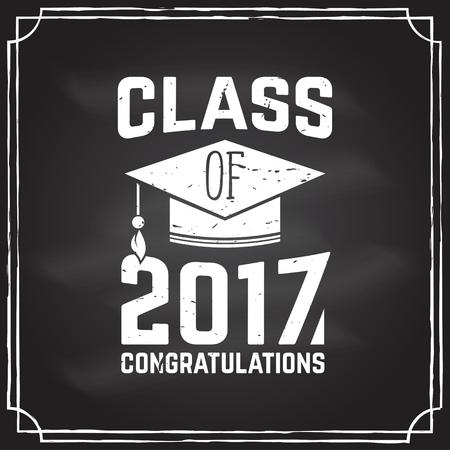 lets party: Vector Congratulations graduates Class of 2017 badge. Illustration
