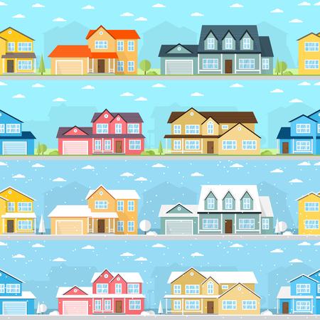 suburban neighborhood: Summer and Winter town.