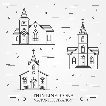 黒と白のベクトル細い線アイコン教会。