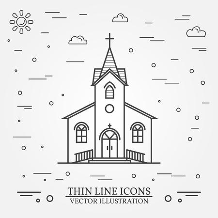 美しいベクター細い線アイコンの教会。