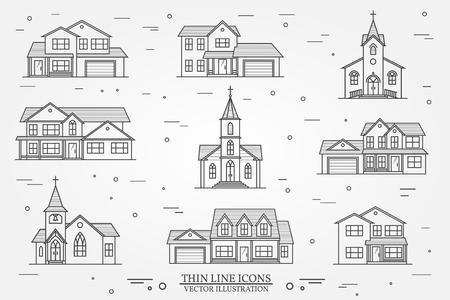 ベクトル細い線アイコン郊外アメリカの住宅のセットです。Web の