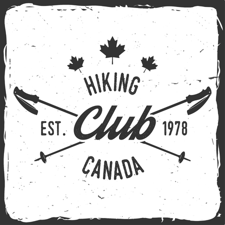 Hiking club badge with Trekking Poles.