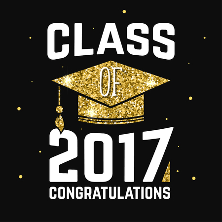 lets party: Vector Class of 2017 badge. Illustration