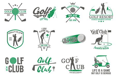Set of Golf club concept with golfer silhouette. Illustration
